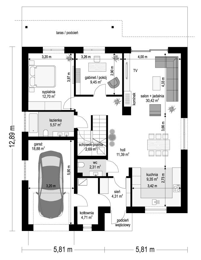 Projekt domu Ambitny 2 - rzut parteru