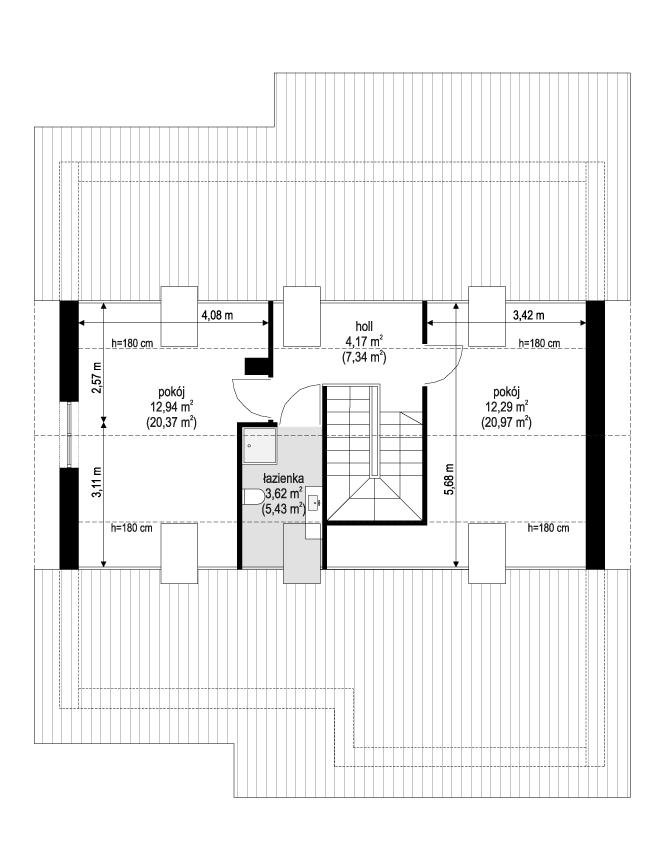 Projekt domu Ambitny 2 - rzut poddasza odbicie lustrzane