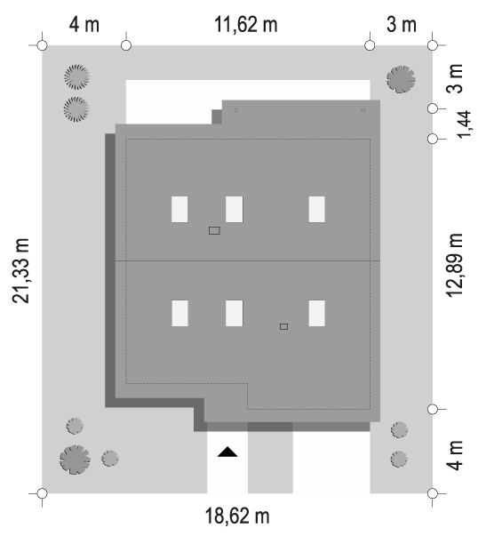 Projekt domu Ambitny 2 - sytuacja odbicie lustrzane