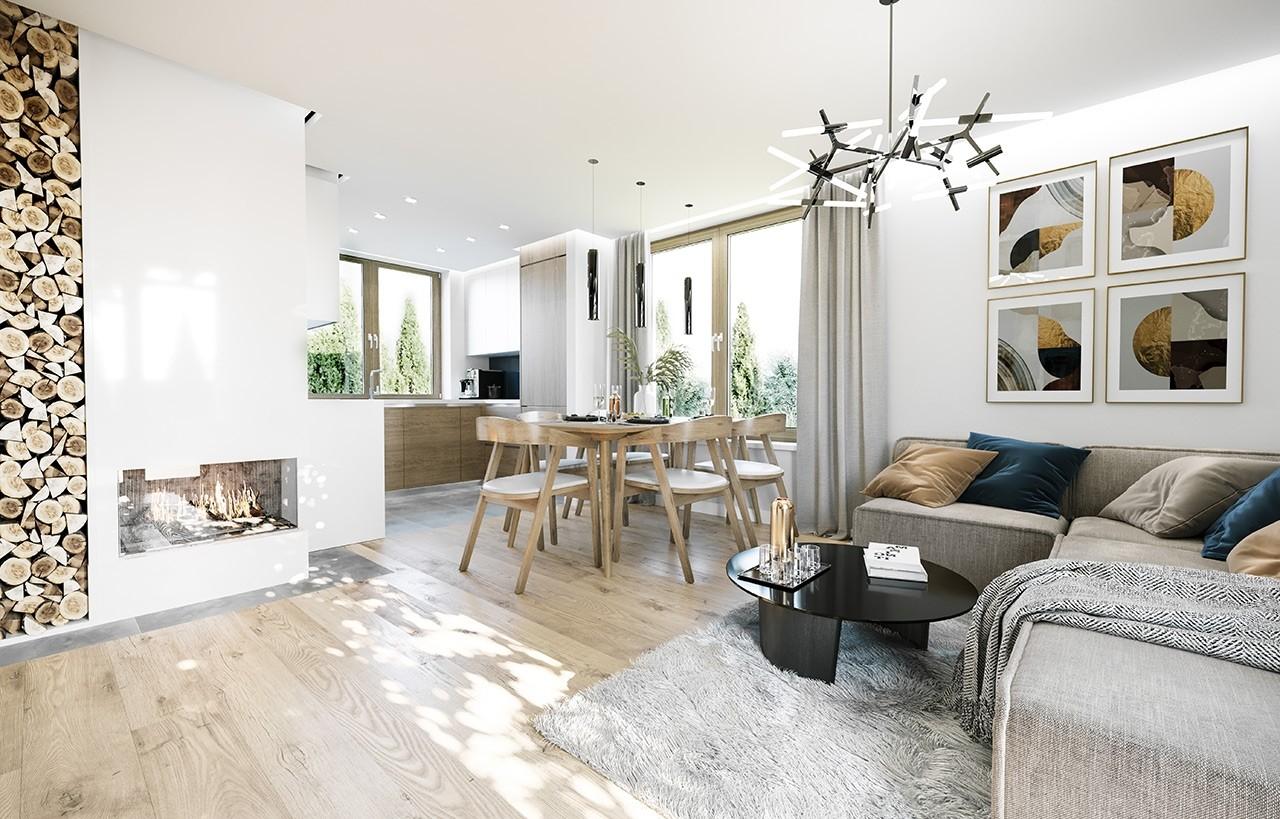 Projekt domu Ania - wizualizacja wnętrza odbicie lustrzane