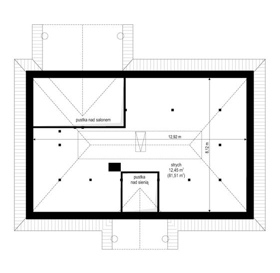 Dom na dębowej - rzut strychu odbicie lustrzane