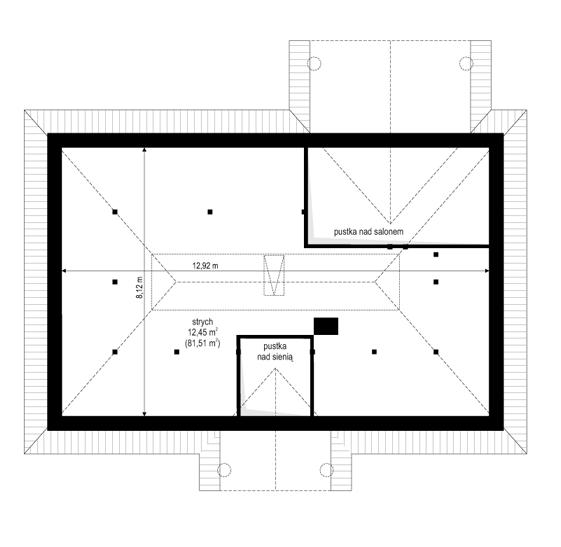 Dom na dębowej - rzut strychu