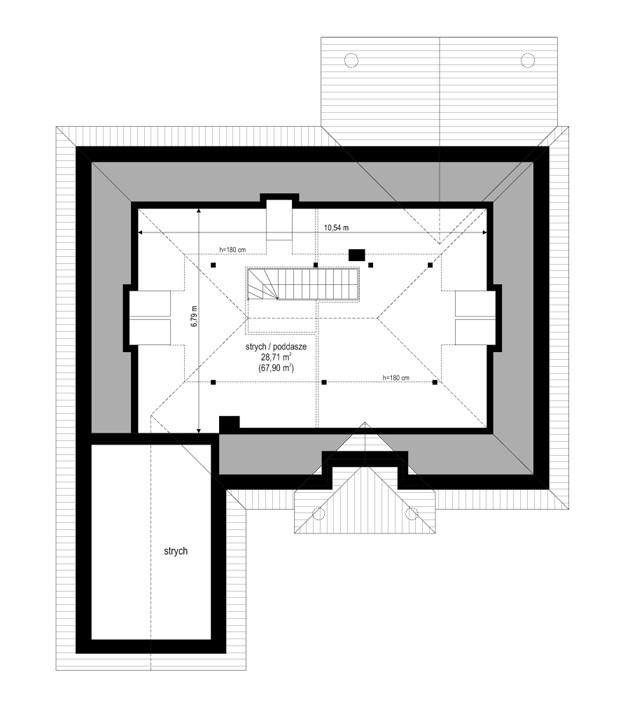 Dom na parkowej 3 - rzut strychu