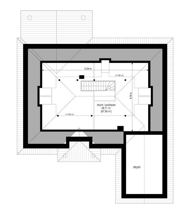 Dom na parkowej 3 - rzut strychu odbicie lustrzane
