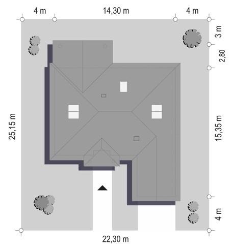Dom na parkowej 3 - sytuacja odbicie lustrzane
