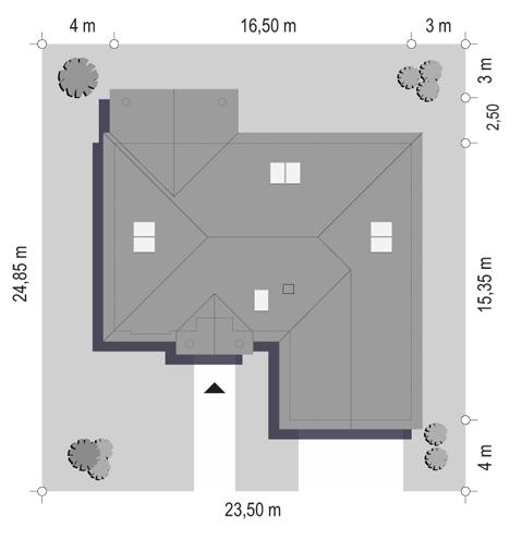 Dom na Parkowej 6 - sytuacja odbicie lustrzane