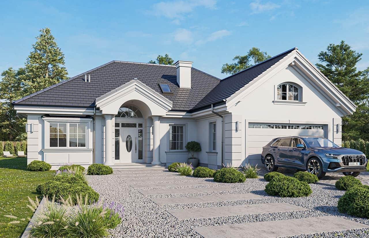Projekt domu Dom na parkowej 6 wariant B wizualizacja frontowa odbicie lustrzane