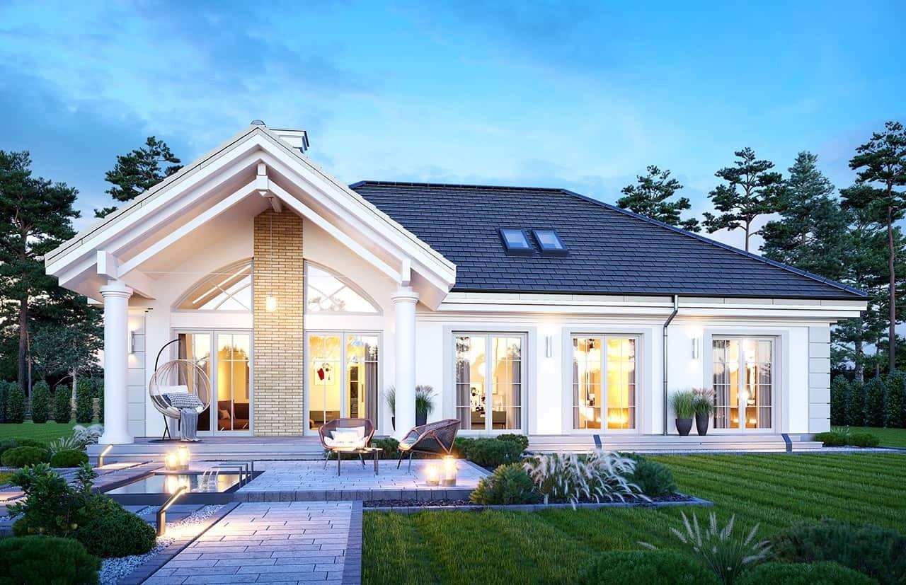Projekt domu Dom na parkowej 6 wariant B wizualizacja ogrodowa