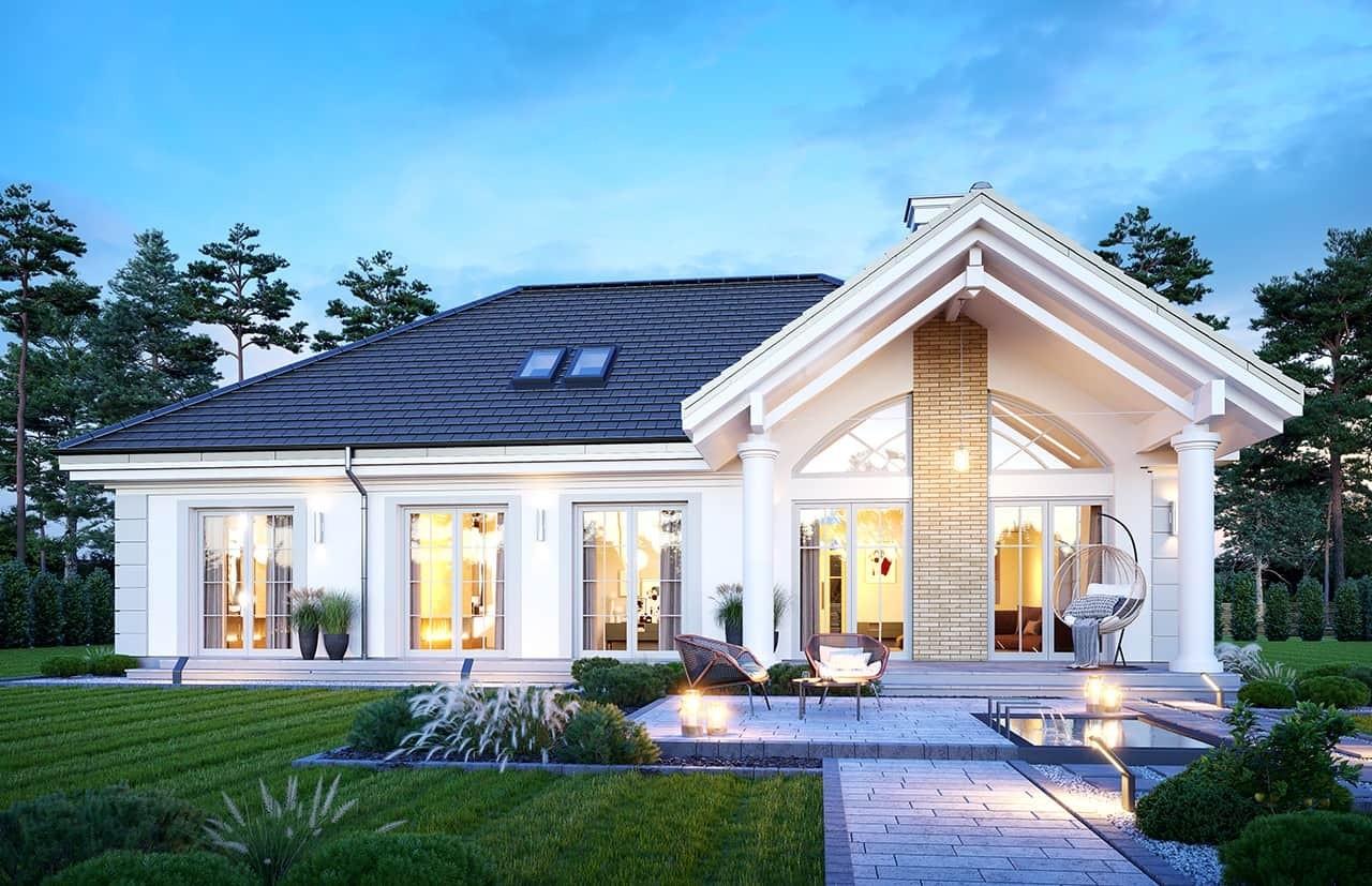 Projekt domu Dom na parkowej 6 wariant B wizualizacja ogrodowa odbicie lustrzane