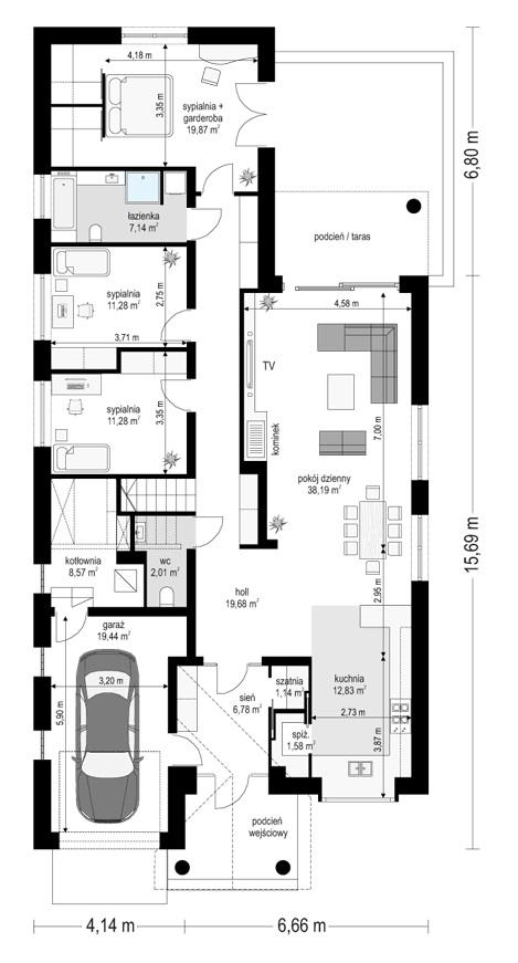 Dom na parkowej 7 A - rzut parteru