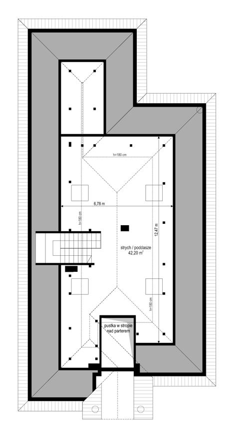 Dom na parkowej 7 A - rzut strychu
