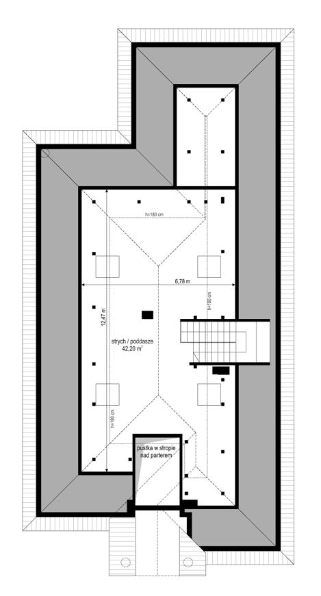 Dom na parkowej 7 A - rzut strychu odbicie lustrzane