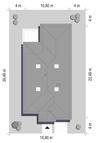 Dom na parkowej 7 A - sytuacja odbicie lustrzane