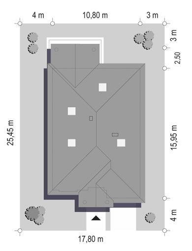 Dom na parkowej 7 B - sytuacja odbicie lustrzane