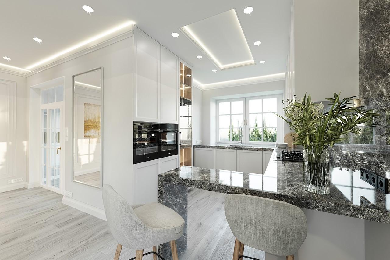 Projekt domu Dom na parkowej 7 B - wizualizacja wnętrza odbicie lustrzane