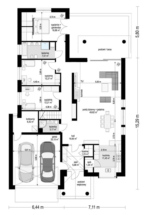 Dom na parkowej 7 C - rzut parteru