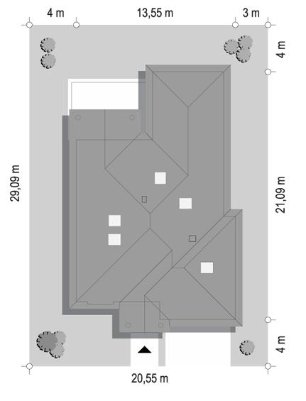 Dom na parkowej 7 C - sytuacja odbicie lustrzane