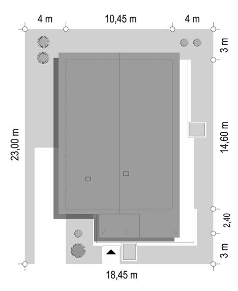 Projekt domu Dom na południowej 2 - sytuacja odbicie lustrzane