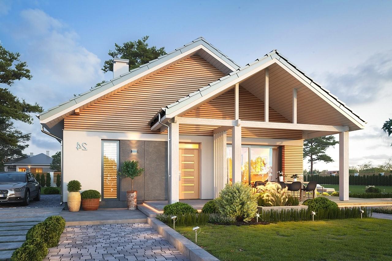 Projekt domu Dom na południowej 2 wizualizacja frontu odbicie lustrzane