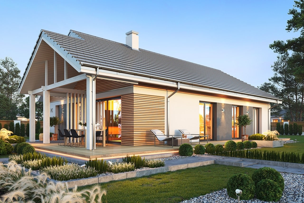 Projekt domu Dom na południowej 3 wizualizacja ogrodowa odbicie lustrzane