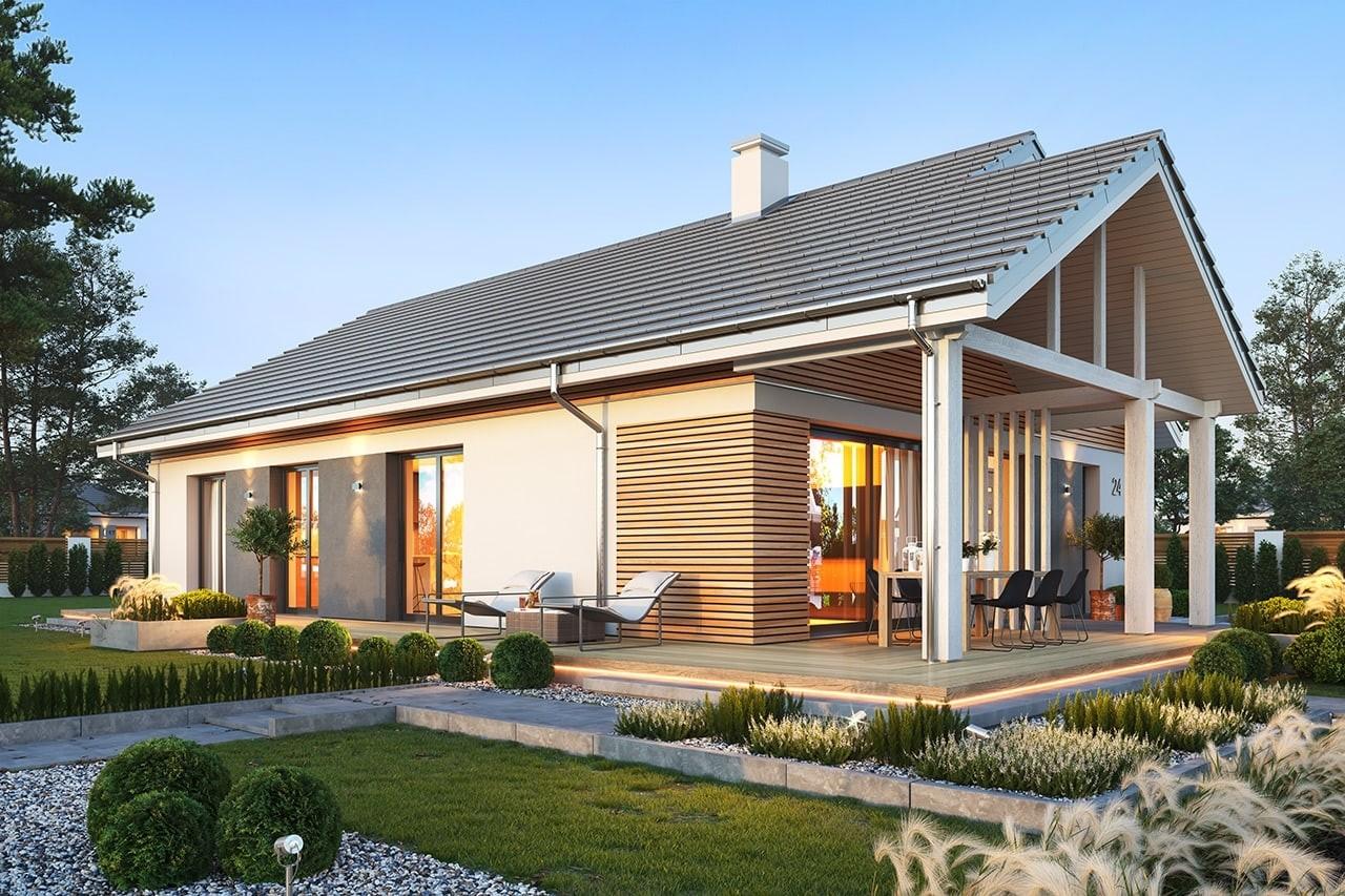 Projekt domu Dom na południowej 3 wizualizacja ogrodowa