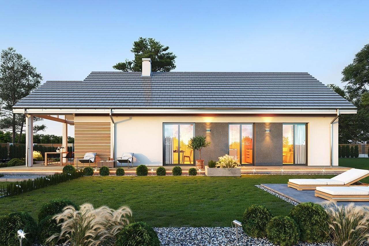 Projekt domu Dom na południowej 3 wizualizacja ogrodowa 2 odbicie lustrzane