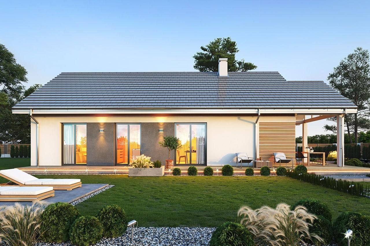 Projekt domu Dom na południowej 3 wizualizacja ogrodowa 2
