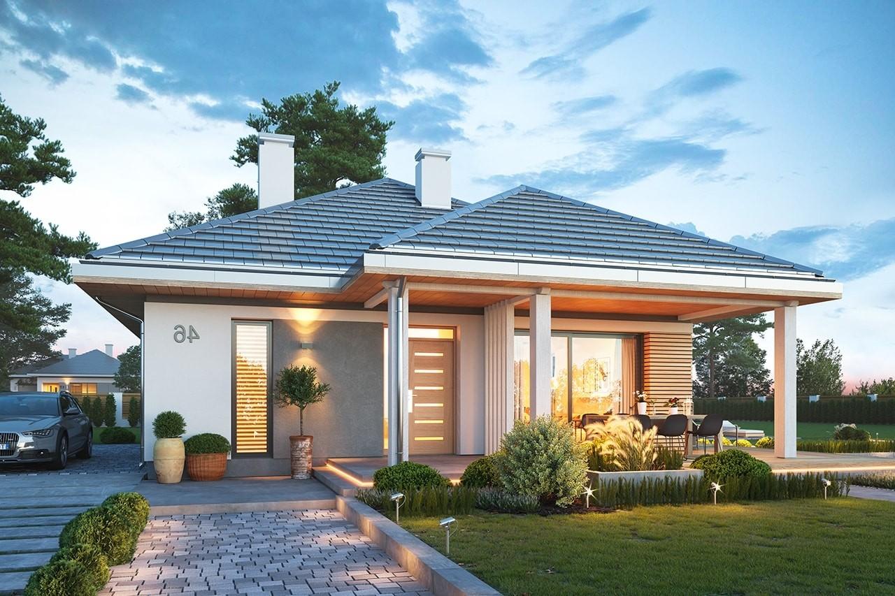 Projekt domu Dom na południowej wizualizacja frontu odbicie lustrzane
