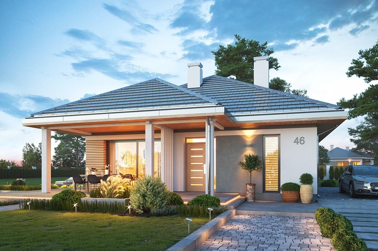 Projekt domu Dom na południowej wizualizacja frontu