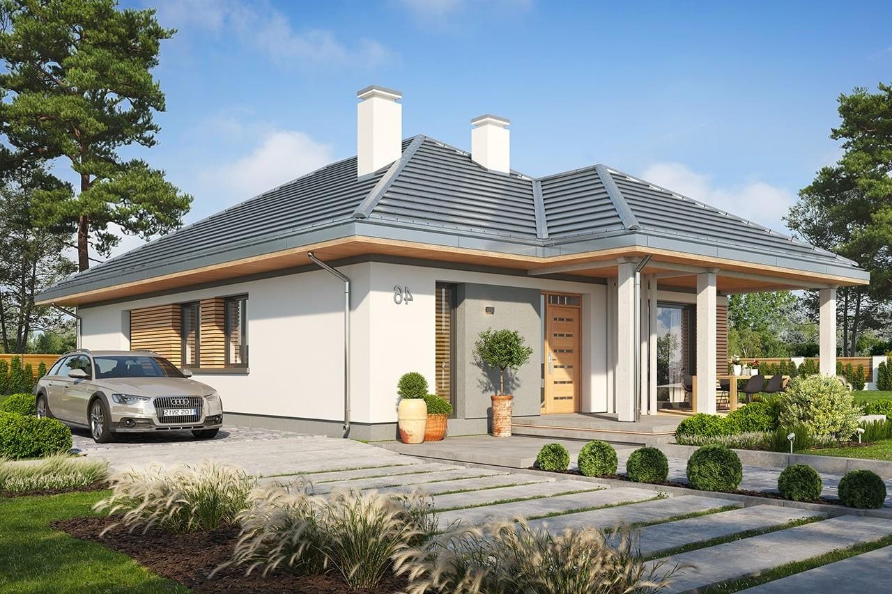 Projekt domu Dom na południowej wizualizacja frontu 2 odbicie lustrzane