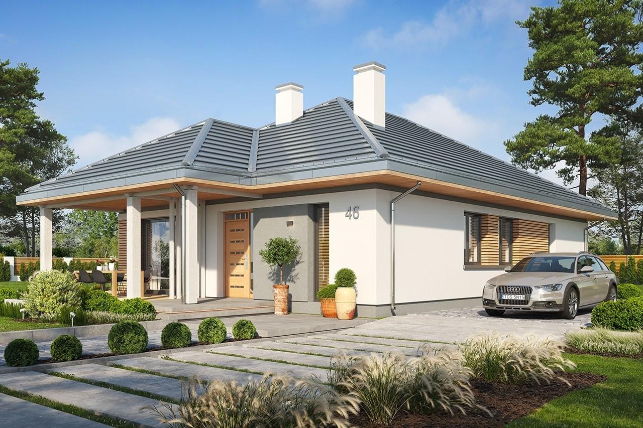 Projekt domu Dom na południowej wizualizacja frontu 2