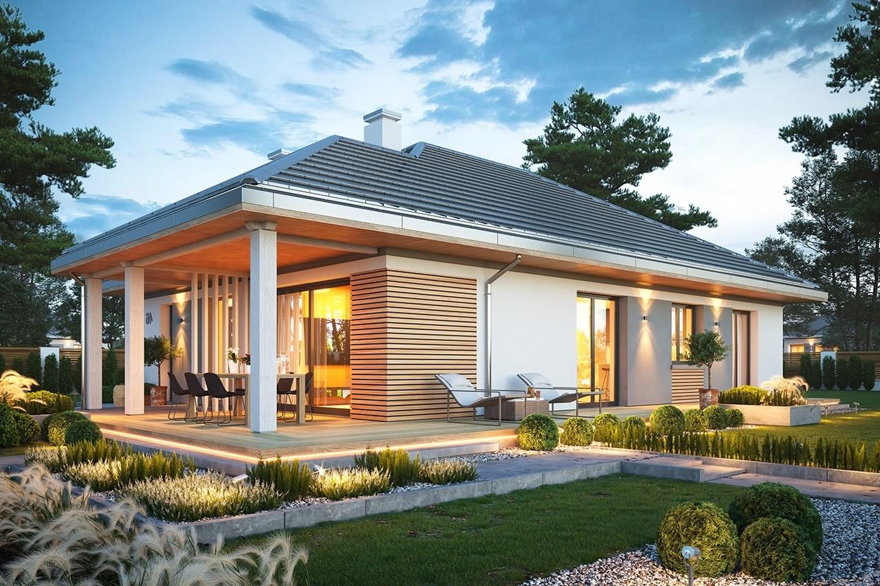 Projekt domu Dom na południowej wizualizacja ogrodowa odbicie lustrzane