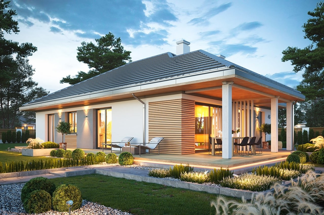 Projekt domu Dom na południowej wizualizacja ogrodowa