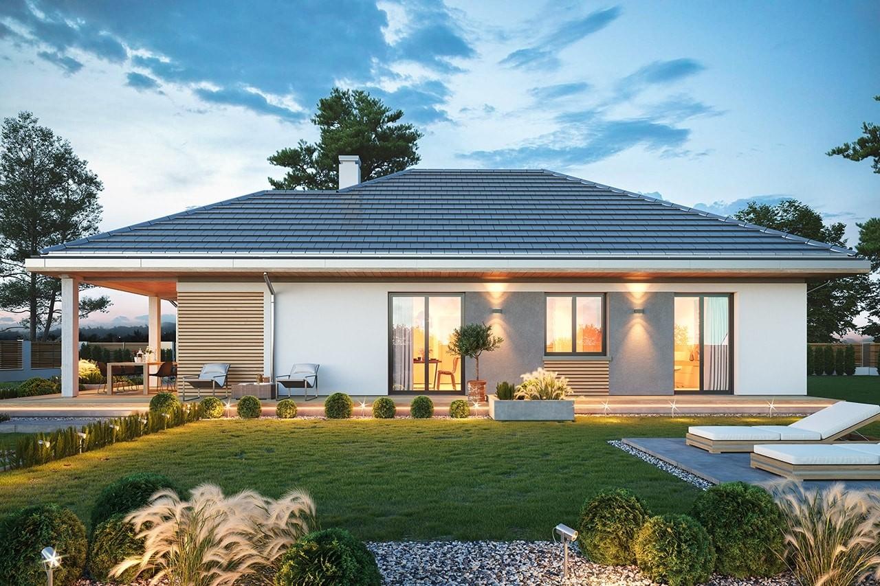 Projekt domu Dom na południowej wizualizacja ogrodowa 2 odbicie lustrzane