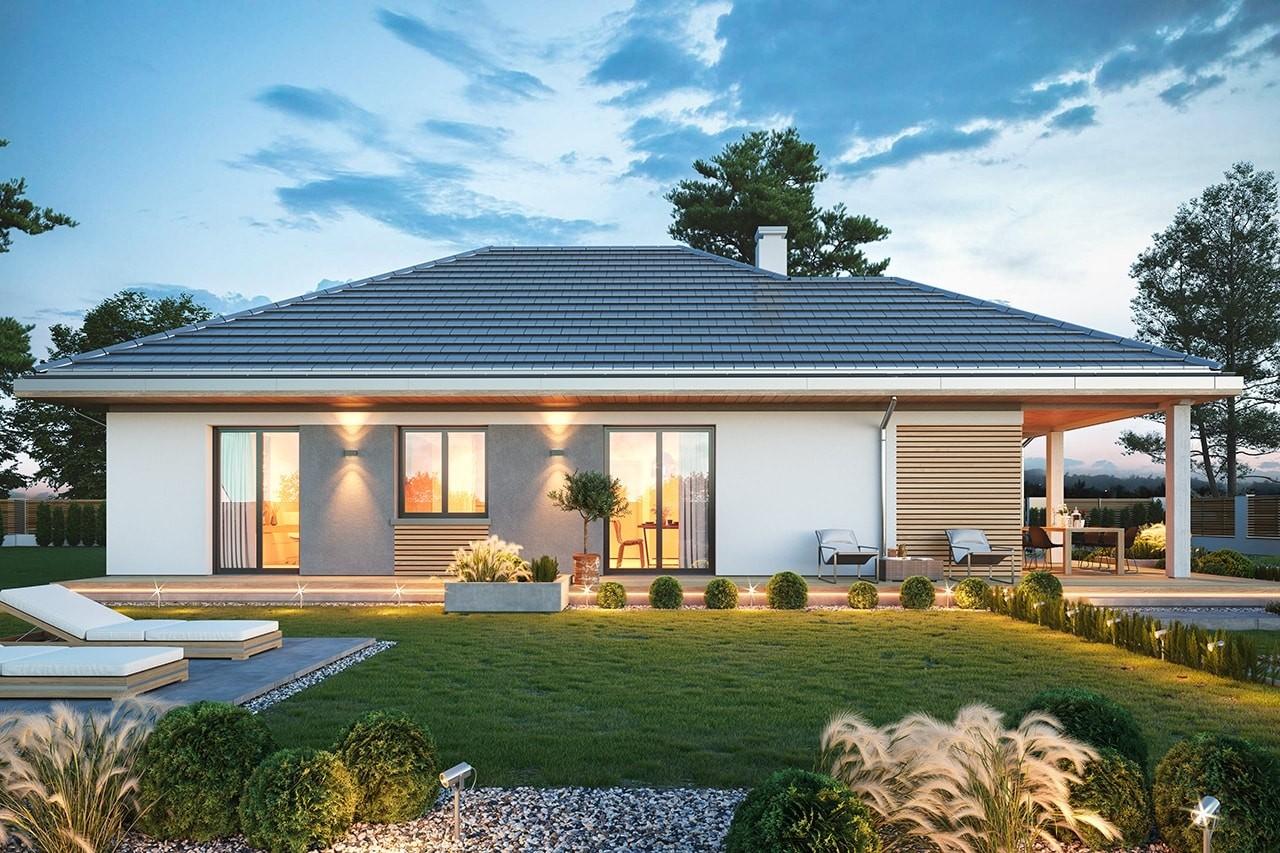 Projekt domu Dom na południowej wizualizacja ogrodowa 2