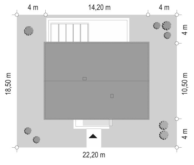 Projekt domu Dom na praktycznej - sytuacja odbicie lustrzane