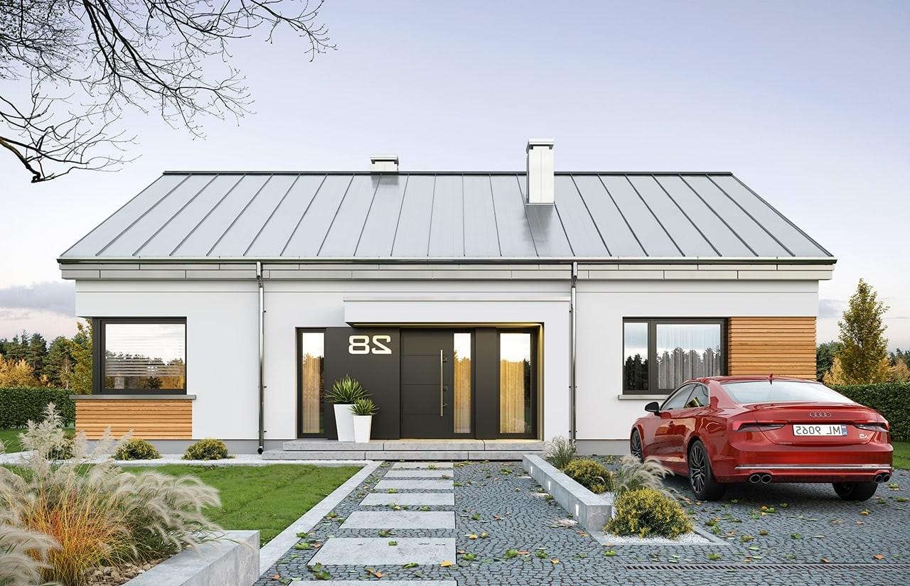 Projekt domu Dom na praktycznej - wizualizacja frontu odbicie lustrzane