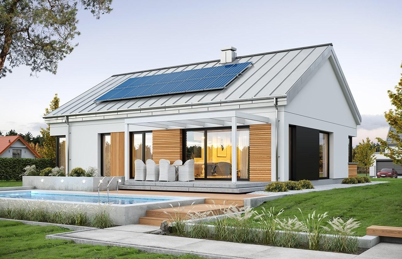 Projekt domu Dom na praktycznej - wizualizacja ogrodowa odbicie lustrzane