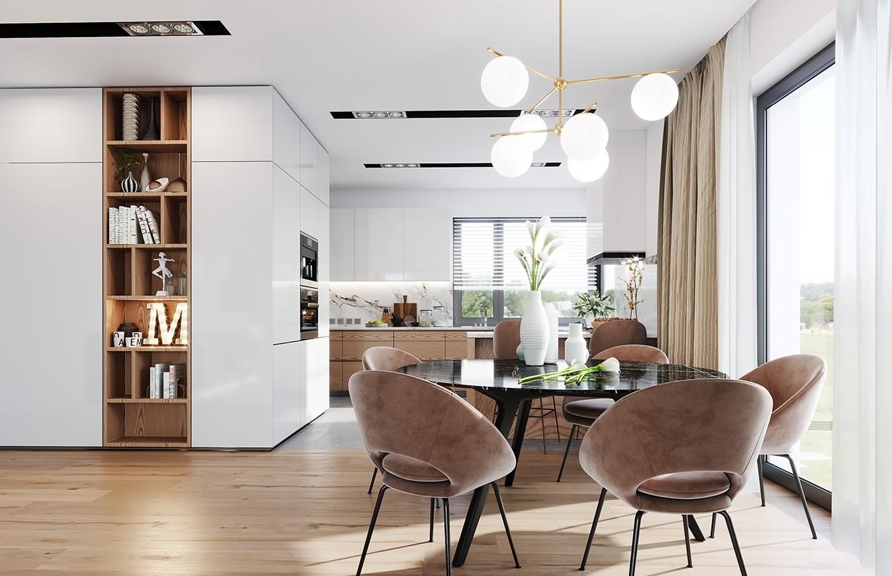Projekt domu Dom na praktycznej 3 B - wizualizacja wnętrza odbicie lustrzane