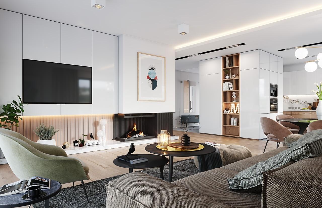 Projekt domu Dom na praktycznej - wizualizacja wnętrza odbicie lustrzane