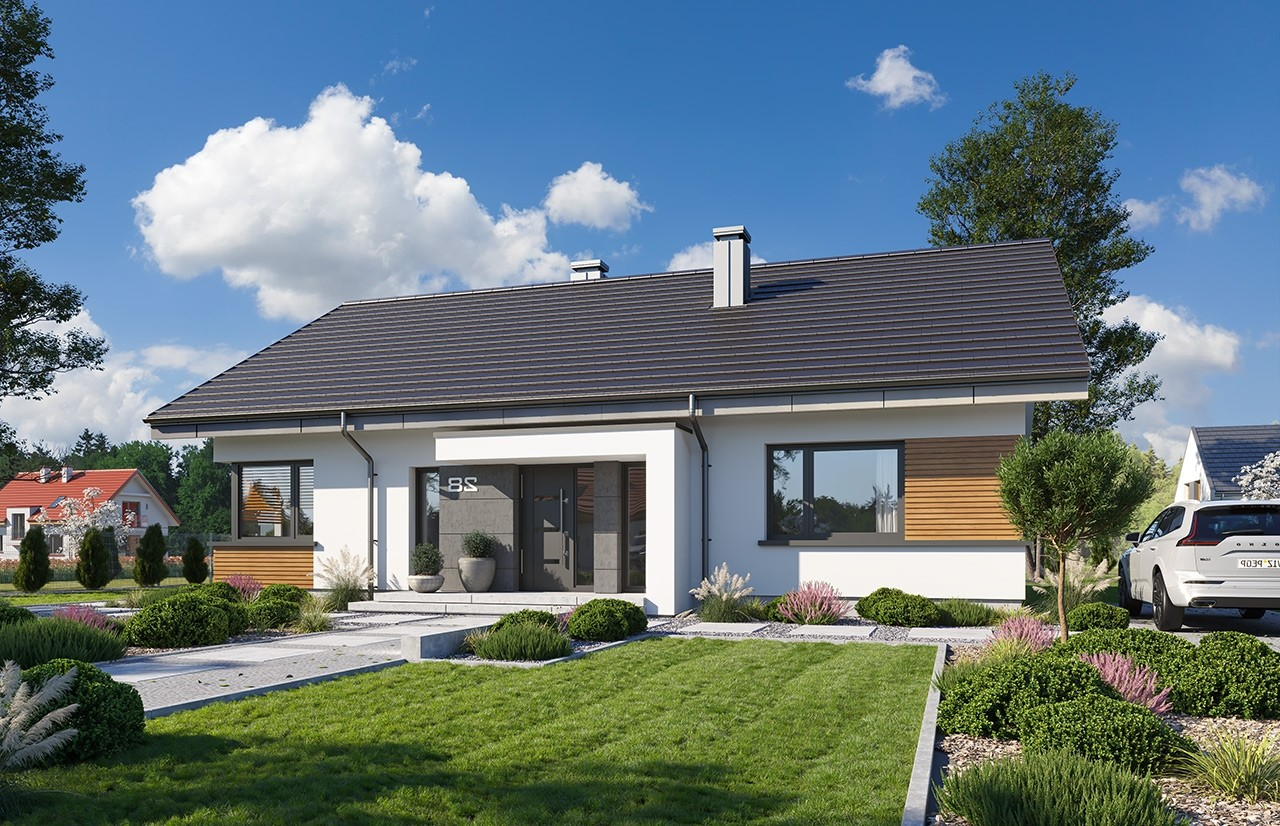 Projekt domu Dom na praktycznej 2 - wizualizacja frontu odbicie lustrzane