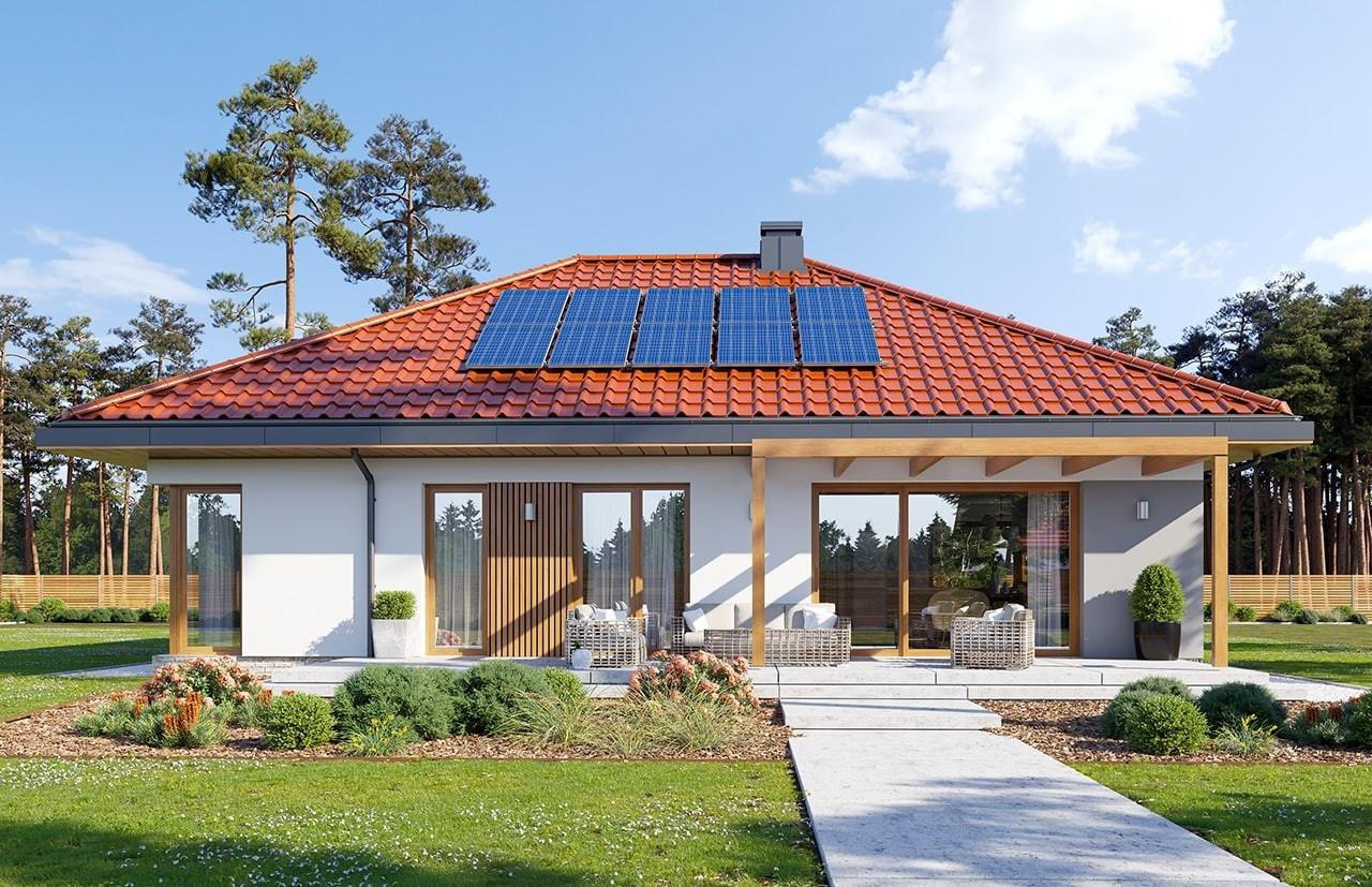 Projekt domu Dom na praktycznej 3 - wizualizacja ogrodowa odbicie lustrzane