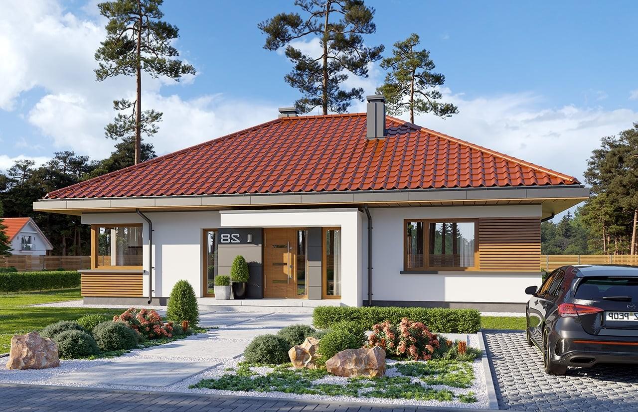 Projekt domu Dom na praktycznej 3 - wizualizacja frontu odbicie lustrzane