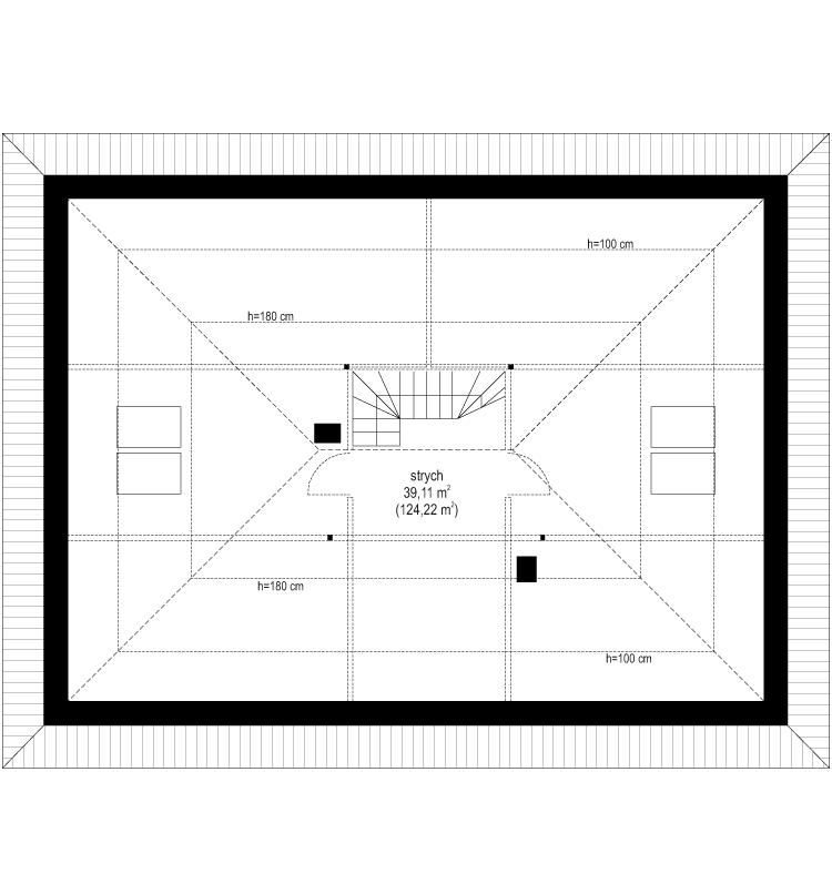 Projekt domu Dom na praktycznej 3 B - rzut strychu odbicie lustrzane