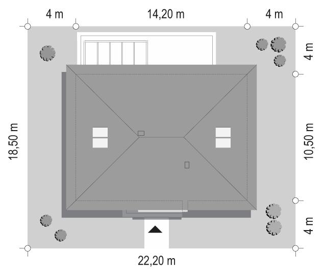 Projekt domu Dom na praktycznej 3 B - sytuacja odbicie lustrzane