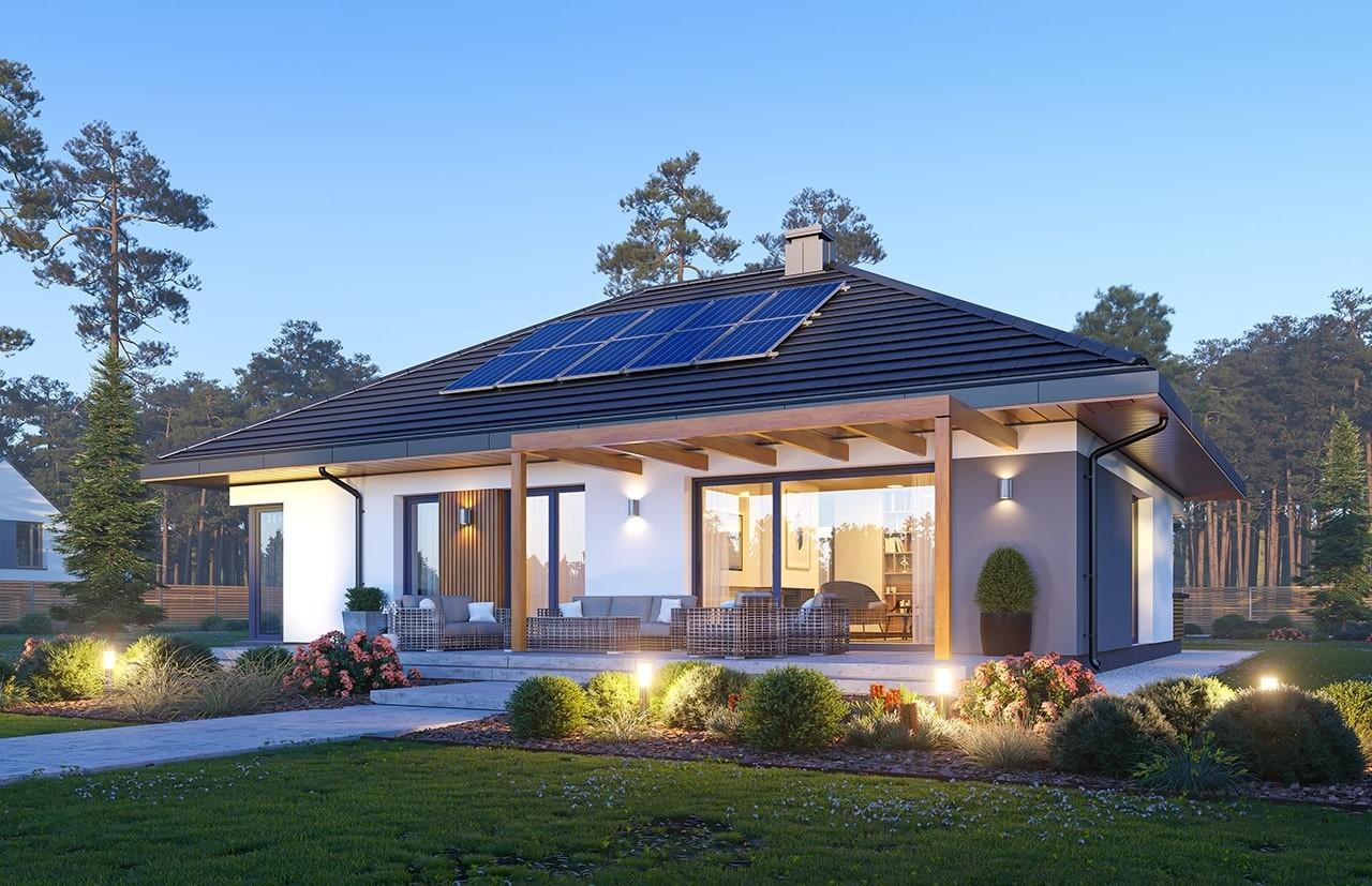 Projekt domu Dom na praktycznej 3 B - wizualizacja ogrodowa odbicie lustrzane