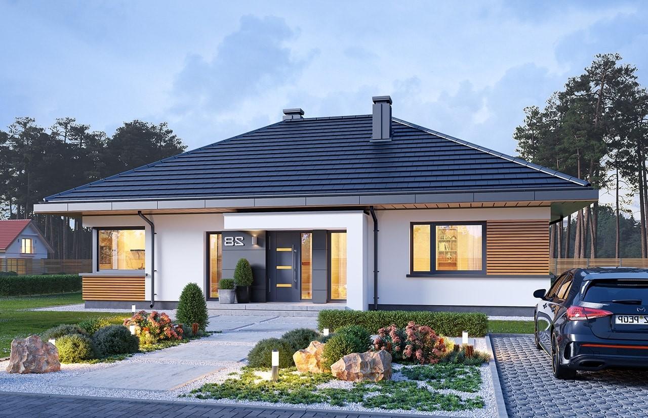 Projekt domu Dom na praktycznej 3 B - wizualizacja frontu odbicie lustrzane