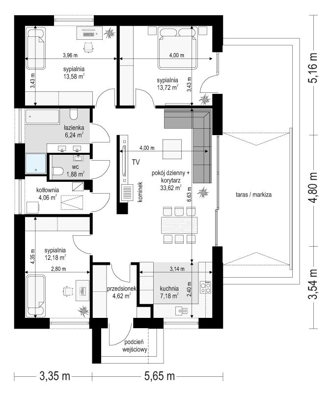 Projekt domu Dom na przytulnej - rzut parteru
