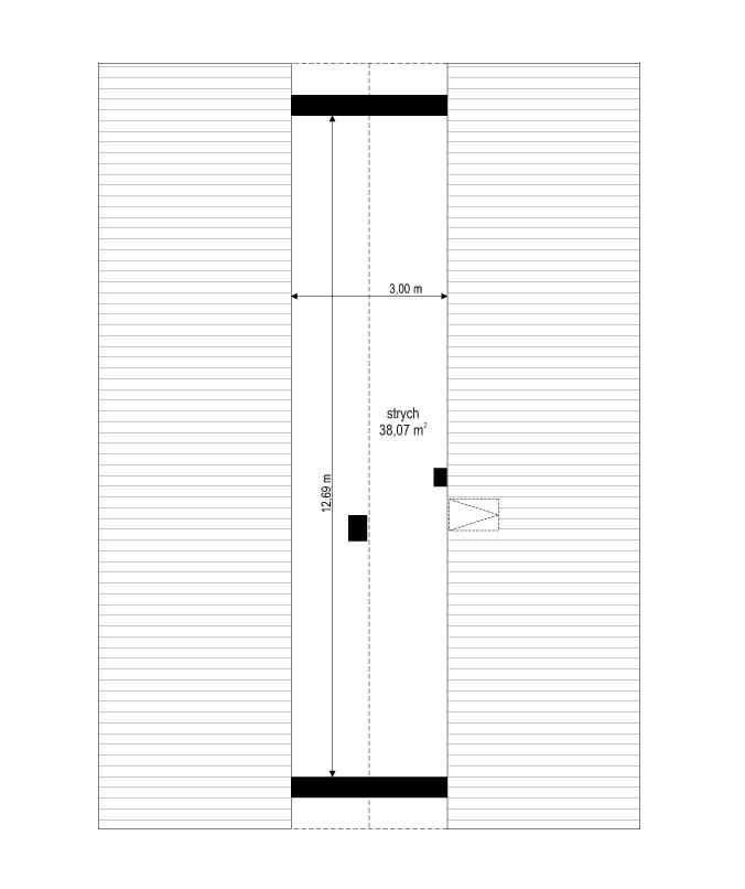 Projekt domu Dom na przytulnej - rzut strychu odbicie lustrzane