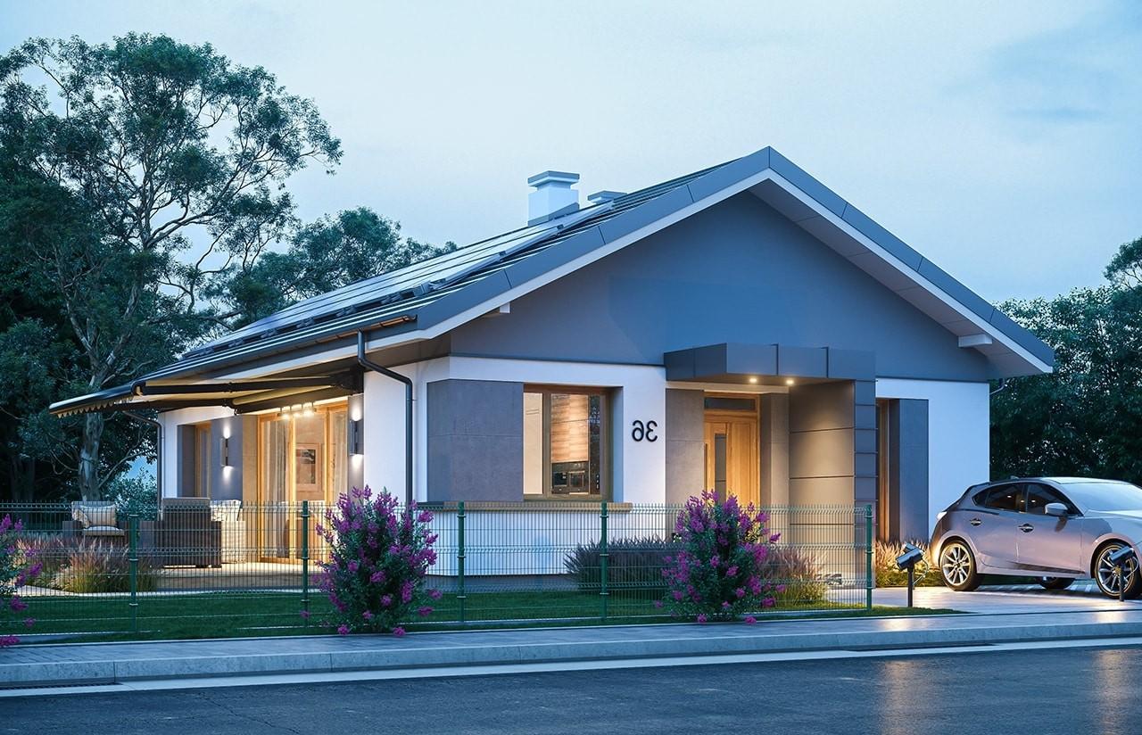 Projekt domu Dom na przytulnej - wizualizacja frontu odbicie lustrzane